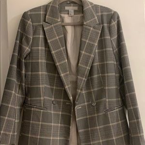 H&M oversized plaid blazer sz 10